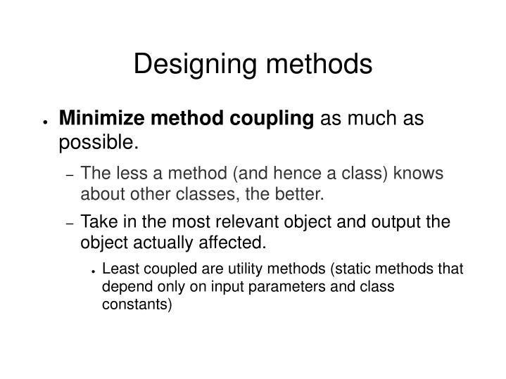 Designing methods