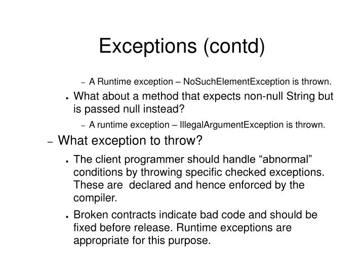Exceptions (contd)