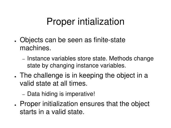 Proper intialization