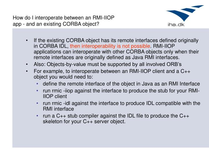 How do I interoperate between an RMI-IIOP