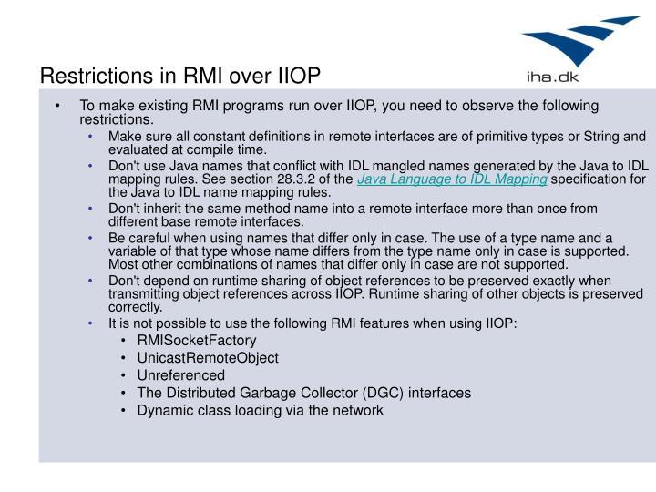 Restrictions in RMI over IIOP
