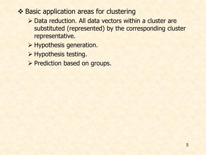 Basic application areas for clustering
