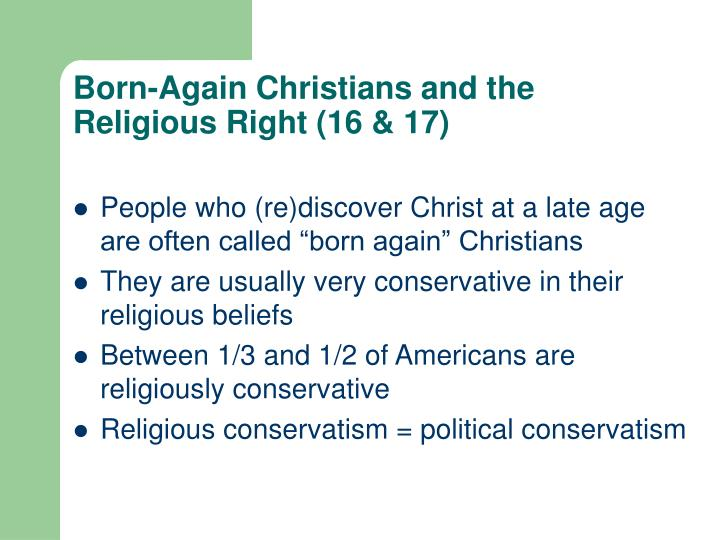 Born-Again Christians and the Religious Right (16 & 17)