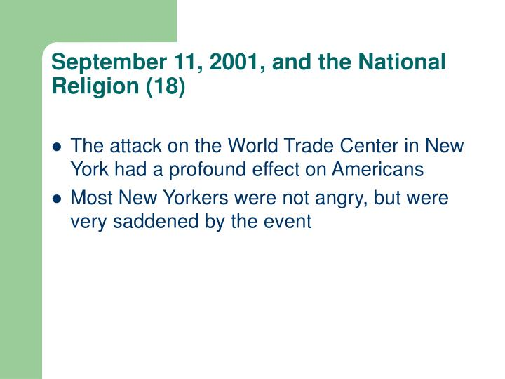 September 11, 2001, and the National Religion (18)