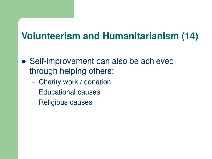 Volunteerism and Humanitarianism (14)