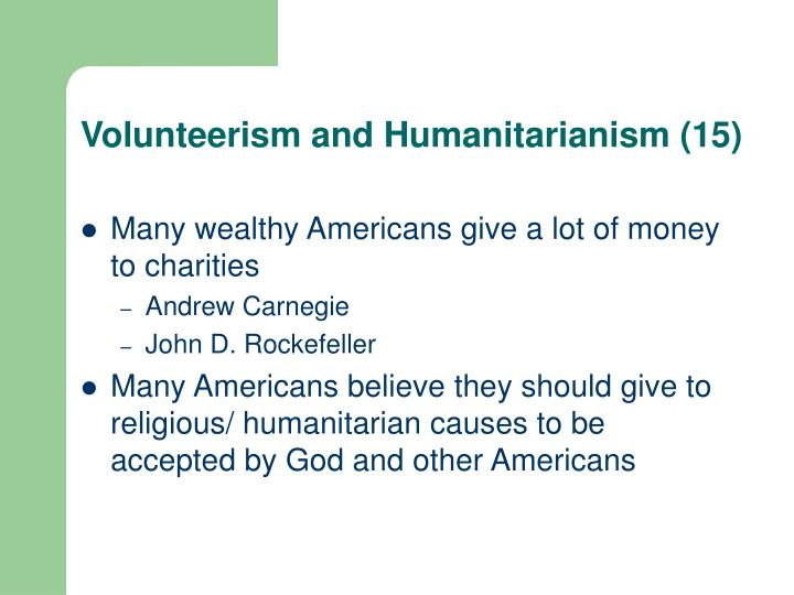 Volunteerism and Humanitarianism (15)