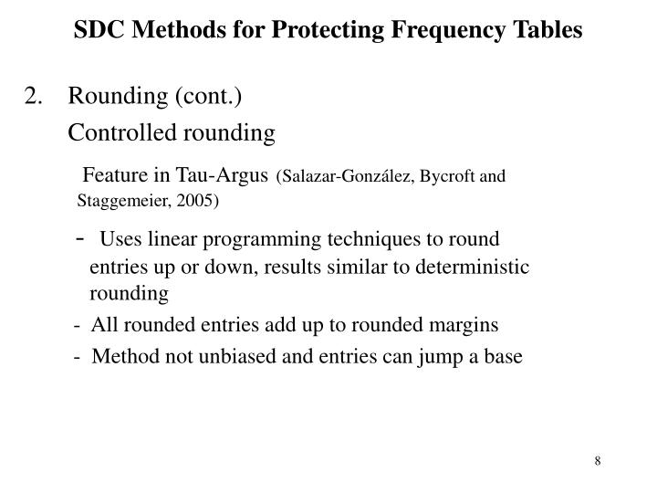 SDC Methods for Protecting Frequency Tables