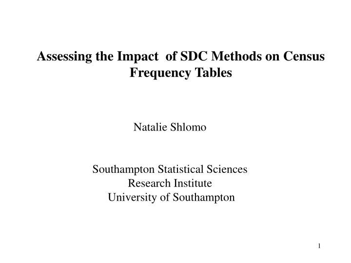Assessing the Impact  of SDC Methods on Census Frequency Tables