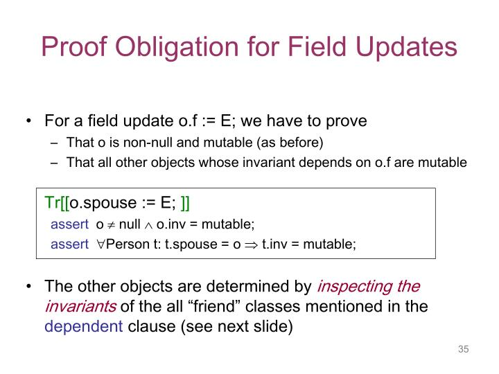 Proof Obligation for Field Updates