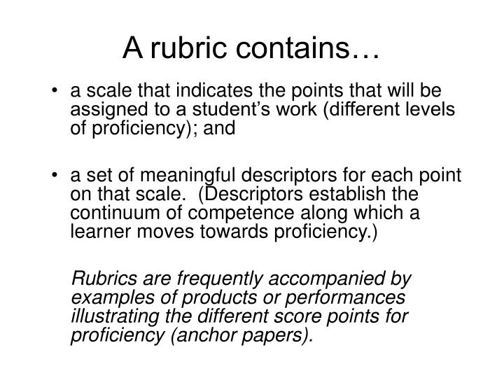 A rubric contains…