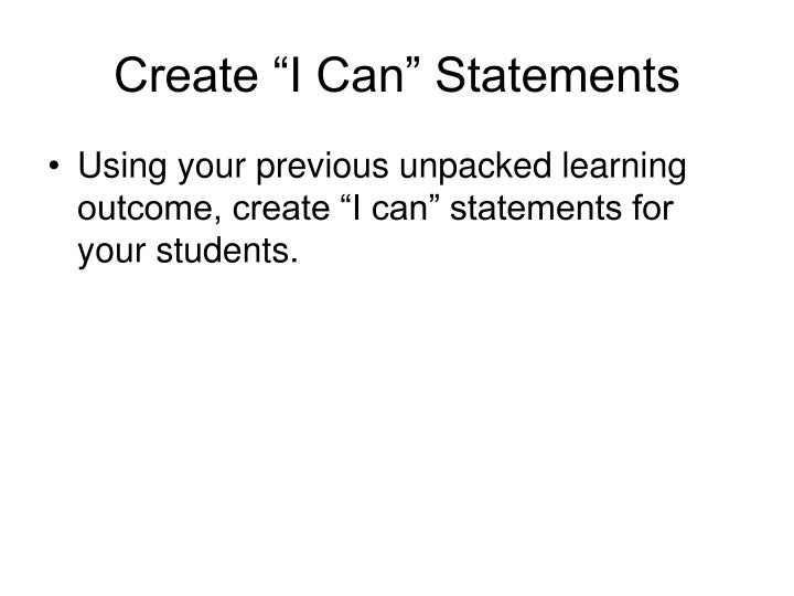"Create ""I Can"" Statements"