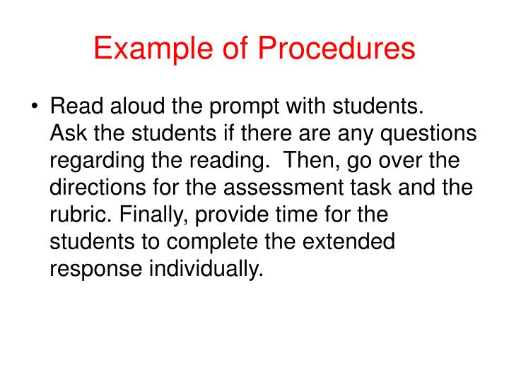 Example of Procedures