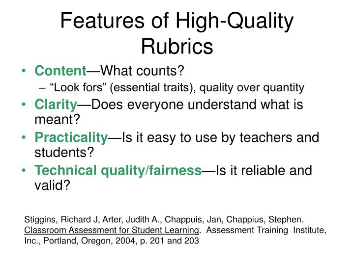 Features of High-Quality Rubrics