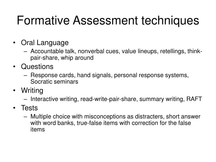 Formative Assessment techniques