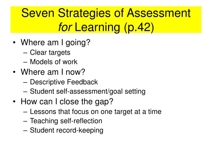 Seven Strategies of Assessment