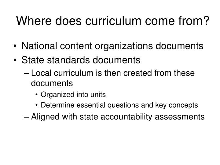 Where does curriculum come from?