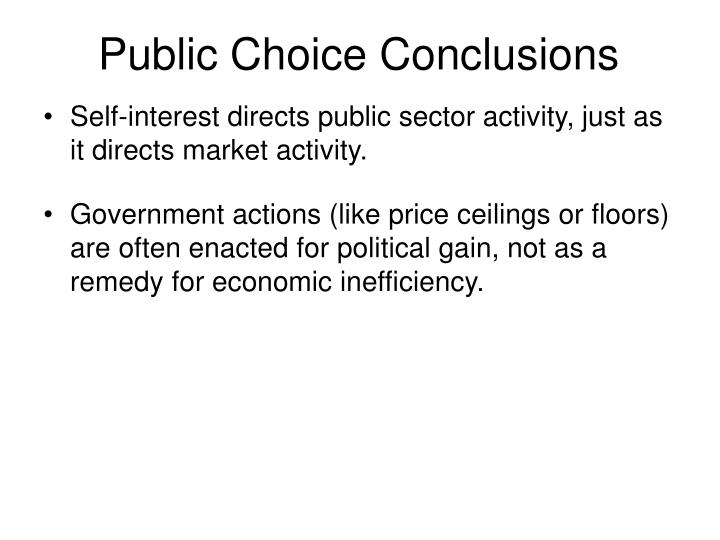 Public Choice Conclusions