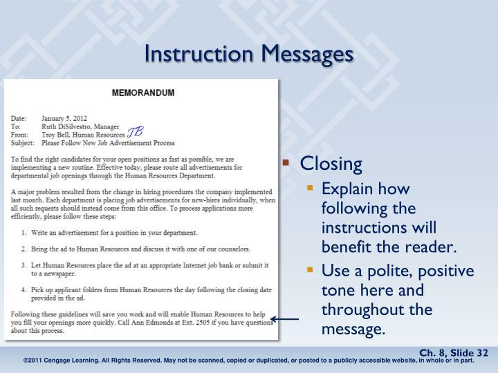Instruction Messages