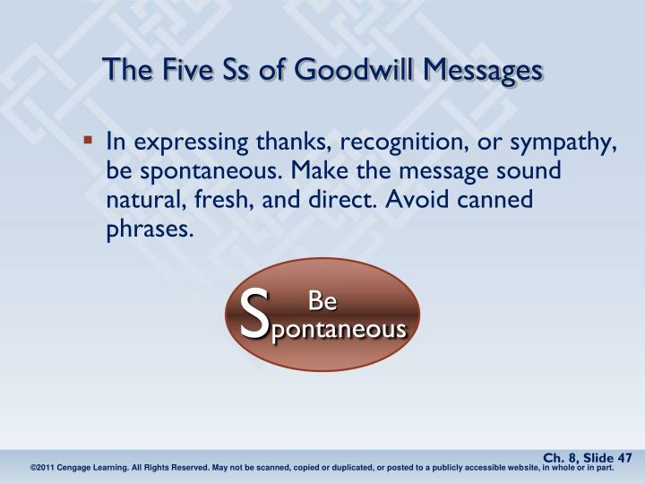 The Five Ss of Goodwill Messages