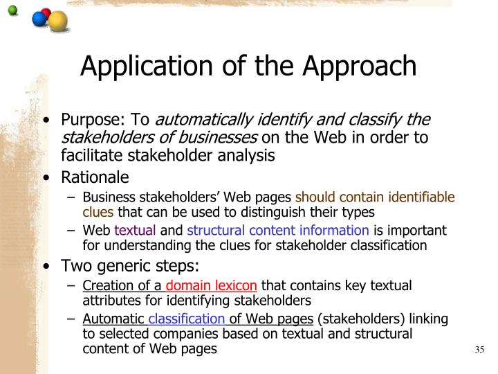 Application of the Approach