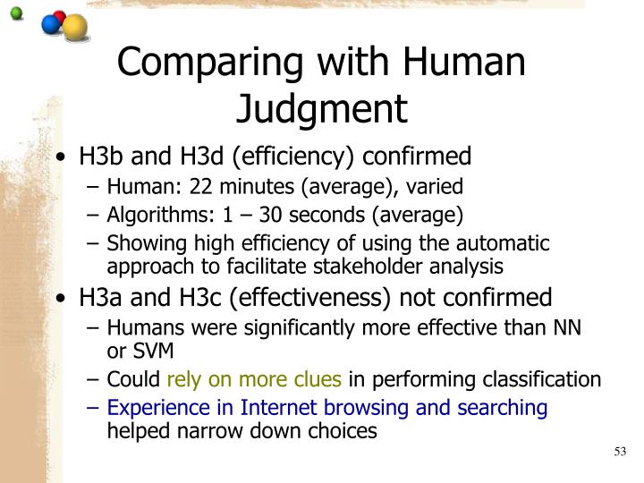 Comparing with Human Judgment