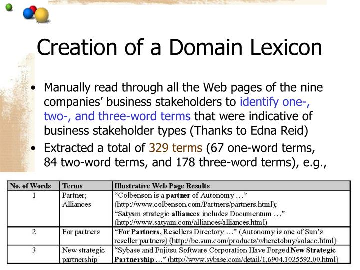 Creation of a Domain Lexicon