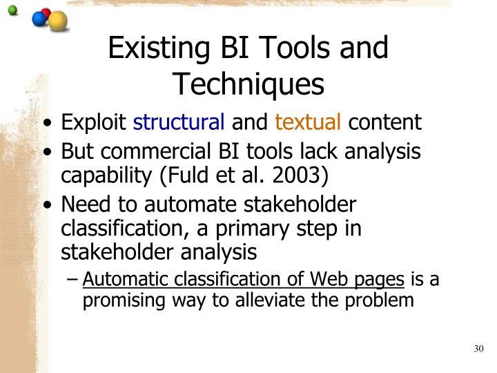 Existing BI Tools and Techniques