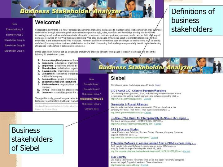 Business stakeholders of Siebel