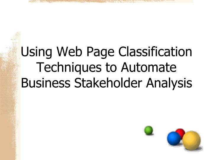 Using Web Page Classification Techniques to Automate Business Stakeholder Analysis