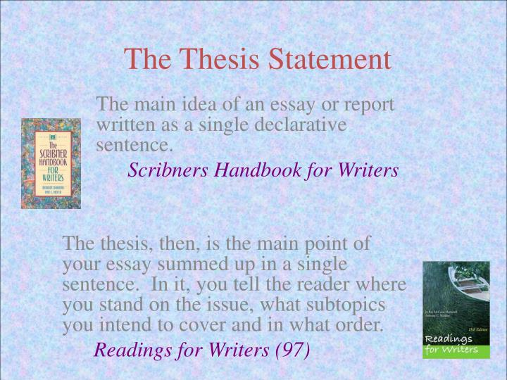 write a single declarative thesis sentence