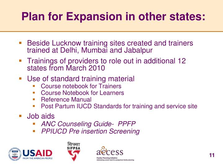 Plan for Expansion in other states: