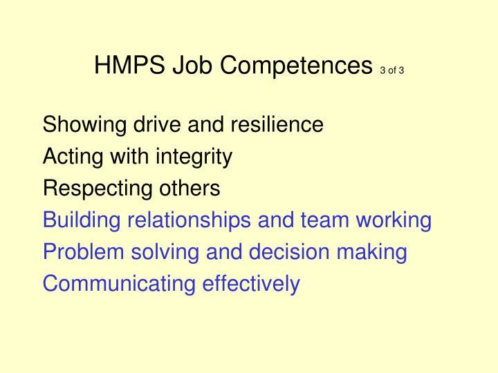 HMPS Job Competences