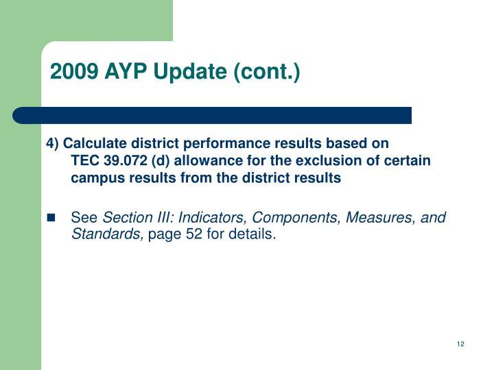 2009 AYP Update (cont.)