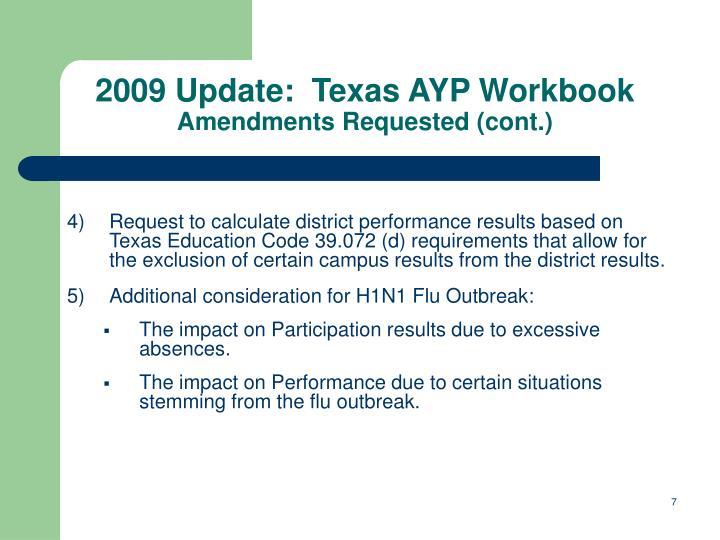 2009 Update:  Texas AYP Workbook