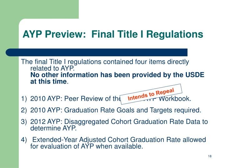 AYP Preview:  Final Title I Regulations