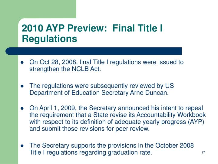On Oct 28, 2008, final Title I regulations were issued to strengthen the NCLB Act.