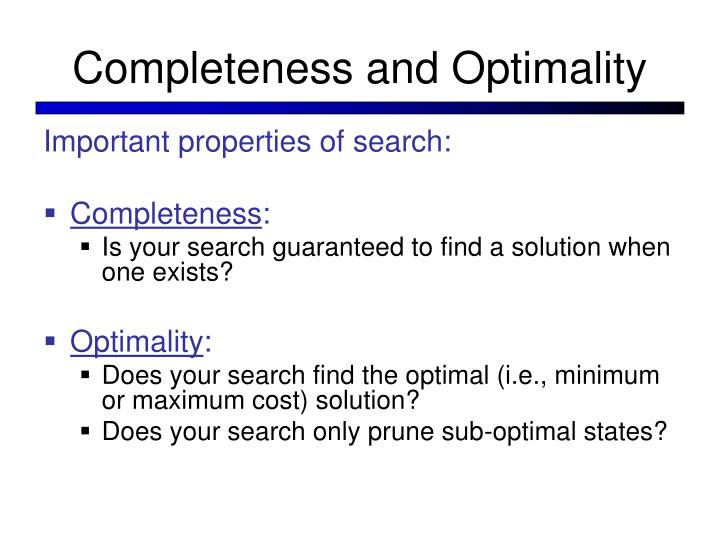 Completeness and Optimality