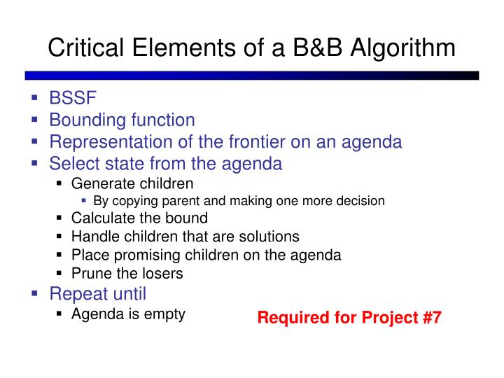 Critical Elements of a B&B Algorithm