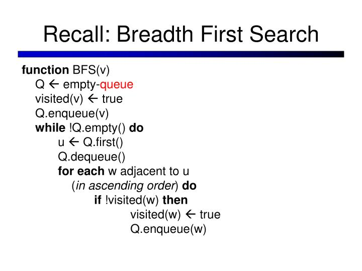 Recall: Breadth First Search