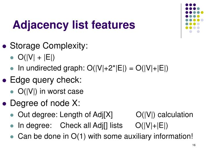 Adjacency list features