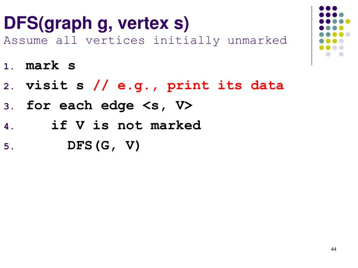 DFS(graph g, vertex s)