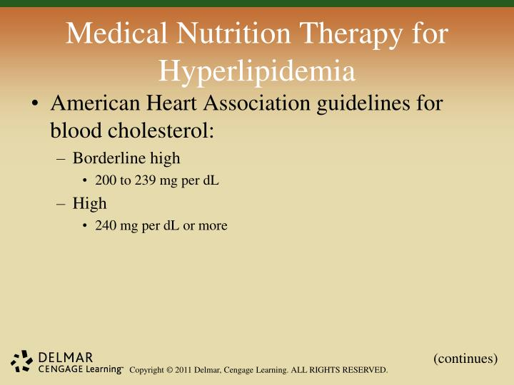 Medical Nutrition Therapy for Hyperlipidemia