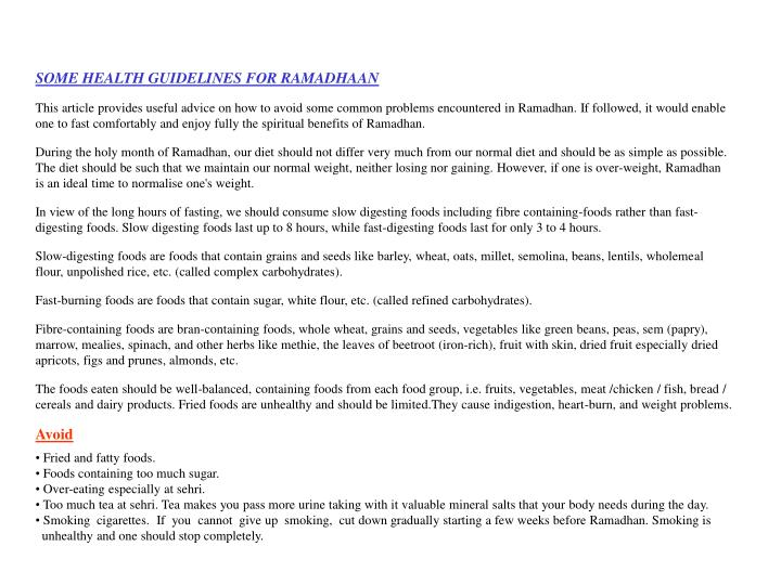 SOME HEALTH GUIDELINES FOR RAMADHAAN