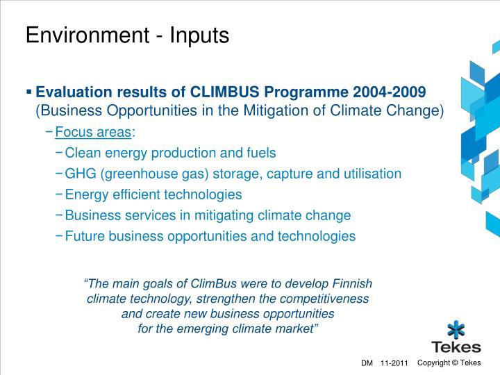 Environment - Inputs