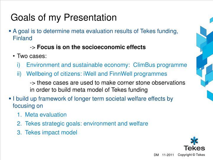 Goals of my Presentation