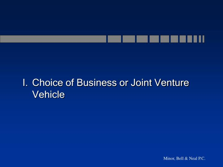 I.	Choice of Business or Joint Venture Vehicle