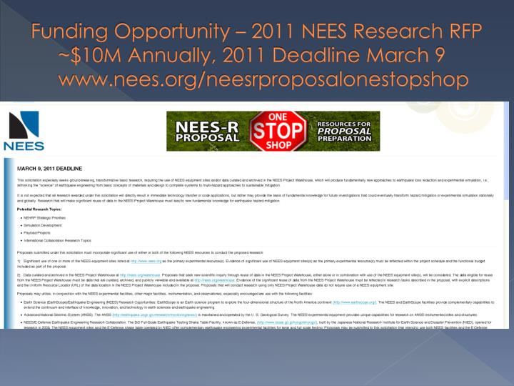 Funding Opportunity – 2011 NEES Research RFP