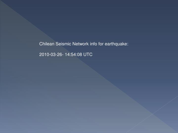 Chilean Seismic Network info for earthquake: