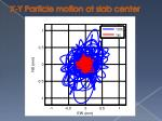 x y particle motion at slab center