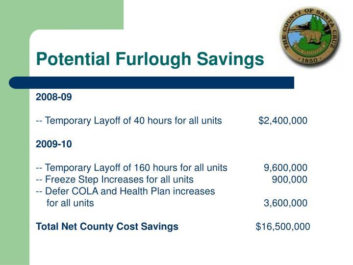 Potential Furlough Savings